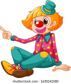 Funny clown in green pants and pink shirt illustration