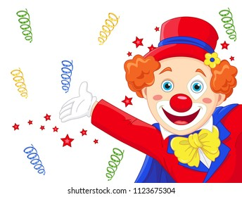 Funny clown invites to the circus