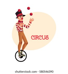 Funny clown juggling balls while riding unicycle, one wheeled bicycle, cartoon vector illustration with place for text. Circus ball juggler and equilibrist balancing on unicycle