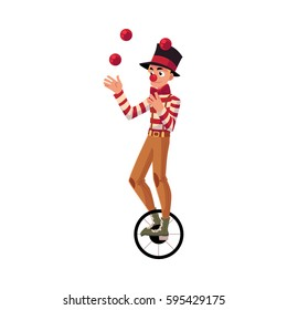 Funny clown juggling balls while riding unicycle, one wheeled bicycle, cartoon vector illustration isolated on white background.