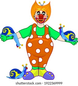 funny clown performs with blue snails, isolated on a white background