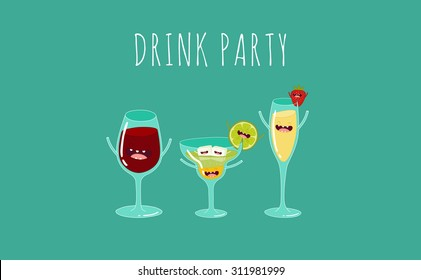 Funny cocktail. Vector illustration.