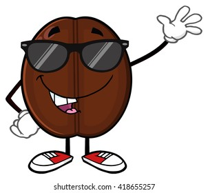 Funny Coffee Bean Cartoon Mascot Character With Sunglases Waving. Vector Illustration Isolated On White