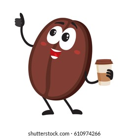 Funny coffee bean character with human face with paper cup showing thumb up, cartoon vector illustration isolated on white background. Coffee bean character, mascot drinking coffee from paper cup