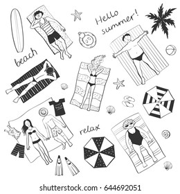 Funny Collection beach vacation. The top view of people who are sunbathing and beach things, umbrellas.