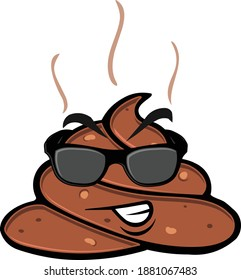 Funny color illustration of steaming pile of poop character icon with face and sunglasses on. Illustrator eps vector graphic design.