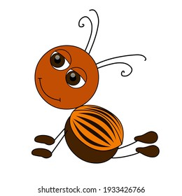 Funny Colorado potato beetle isolated on white background. Colorful insect in flat style with black outline. Cute cartoon character. Vector illustration.