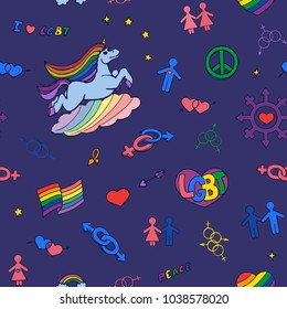Funny colored pattern with a unicorn, rainbow flag and lgbt symbols on a blue background