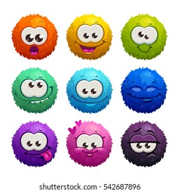 Funny colorful cartoon comic fury round characters with different emotions. Cute game assets. Vector illustration, isolated icons on white background.