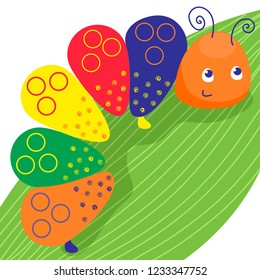 Funny colorful caterpillar. Smiling insect on the green leave. Vector illustration, cartoon baby style.