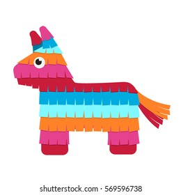 Funny colorful character pinata in a flat style. Vector illustration isolate on a white background