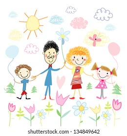 Funny colorful child's drawing of a happy family on a background of clouds and flowers