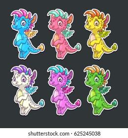 Funny colorful dragon stickers set. Vector childish illustration.