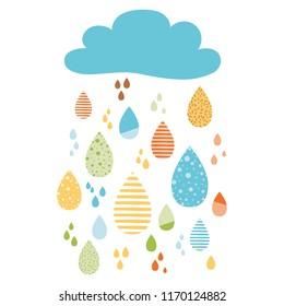 Funny colorful drops of rain clouds Vector autumn nature banner Kids fall background Autumn doodles card Season of the rain, illustration, cute color doodle print wrap scrap paper label