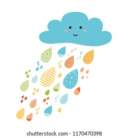 Funny colorful drops of rain clouds Vector autumn nature banner Smile Character Kids fall background Autumn doodles card Season of the rain illustration, cute color doodle print wrap scrap paper label