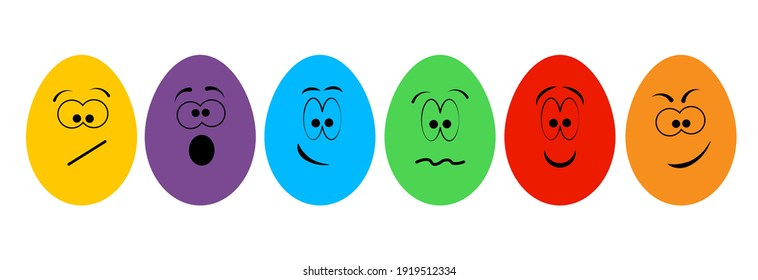 Funny colorful eggs.Emoticons.Smiling faces.Emotion,expression.Cartoon eggs with different faces isolated on transparent background.Happy Easter concept.