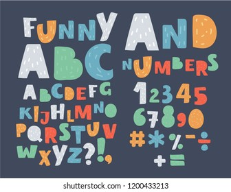 Funny colorful English alphabet, cute bold font on dark background. Handwritten ABC of capital letters. Uppercase characters and special symbols, numbers and signs. Vector cartoon illustration