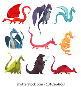 Funny colorful fire breathing dragons monsters weird snake like creatures flat cartoon icons set isolated vector illustration
