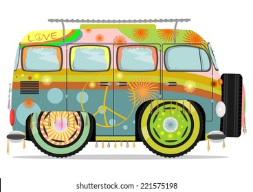 Funny colorful hippie car. Vector illustration without gradients on one layer.