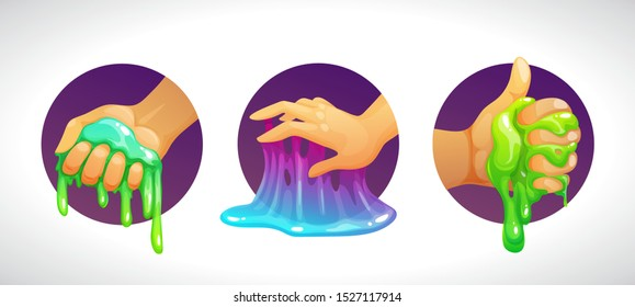 Funny colorful homemade slime holding in the hand. Cool cartoon logo for childish slimy toys. Vector illustration.