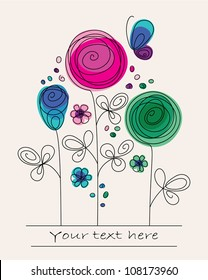Funny colorful illustration with abstract flowers and butterfly