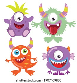 Funny colorful monsters vector cartoon illustration