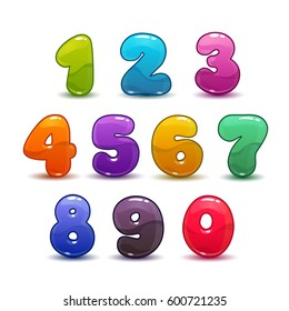 Funny colorful numbers set on white background. Vector illustration