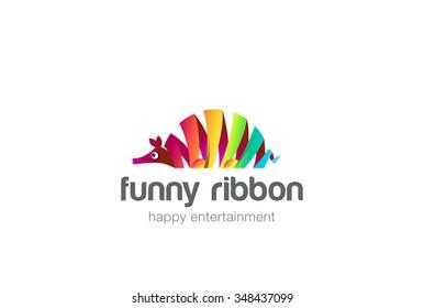 Funny colorful ribbon abstract ant-bear Logo design vector template. Zoo creative animal Logotype concept fun icon.