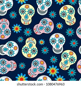Funny Colorful Skulls With Flowers Pattern For Wallpaper Textiles Greeting Cards The
