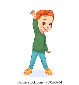 Funny colorful vector boy raised his hand with an open palm in greeting gesture. Isolated kids character.