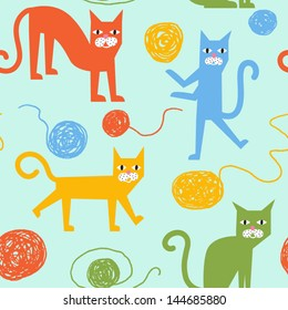 Funny colorful vector seamless pattern with cheerful cats
