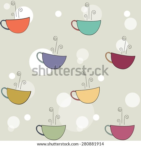 Funny Colors Tea Cups Vector Pattern Stock Vector Royalty Free