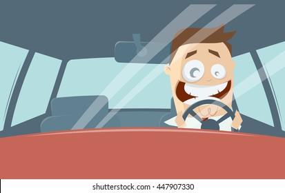 funny comic man driving a car