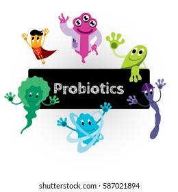 Funny Comic Probiotics Bacteria Characters - Microbiological Treatment of Various Diseases - Vector Art Illustration