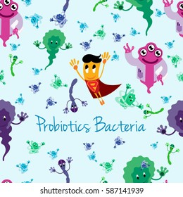 Funny Comic Probiotics Bacteria Characters - Microbiological Treatment of Various Diseases - Seamless Texture Pattern - Vector Art Illustration