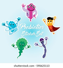 Funny Comic Probiotics Bacteria Characters Sticker Pack - Microbiological Treatment of Various Diseases - Vector Art Illustration