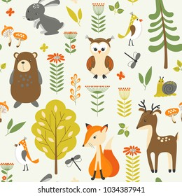 Funny concept childish seamless pattern with wild animals, trees and flowers. Seamless background in vector.