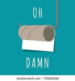 Funny concept of nearly empty toilet paper. Vector illustration. Modern flat design.