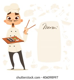 Funny cook. Menu. Cartoon chinese, japan cook with sushi in hands. Chief cook