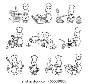 Funny cooks big set. Doodle vector illustration on white. Cooking hand drawn background.