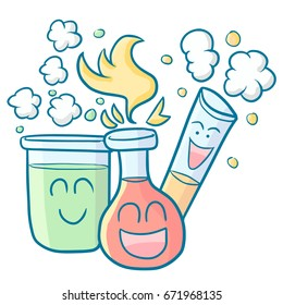 Funny and cool laboratories tubes smiling happily - vector.