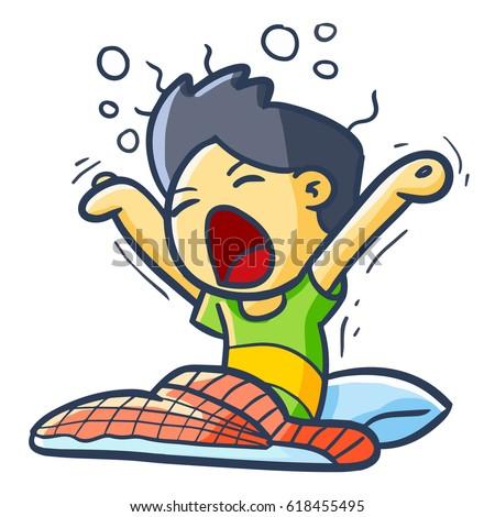 Funny Cool Man Cartoon Yawn Morning Stock Vector (Royalty ...