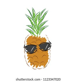 Funny Cool Pineapple with sun glasses. Vector illustration sketch