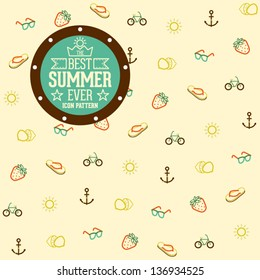 Funny and Cool Summer Icon Pattern Background