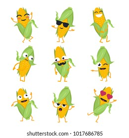 Funny corn - vector isolated cartoon emoticons. Cute emoji set with a nice character. A collection of angry, surprised, happy, cheerful, crazy, laughing, in love, sad vegetables on white background