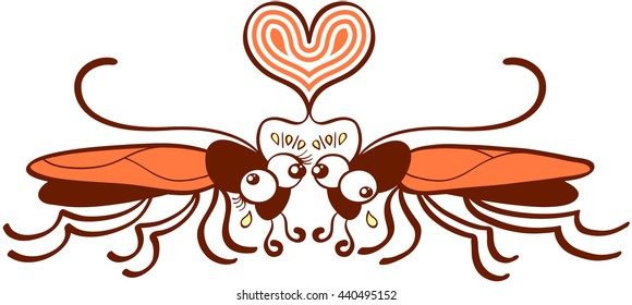 Funny couple of brown and orange cockroaches while posing in front of each other and expressing their love by forming an artistic heart with their antennae