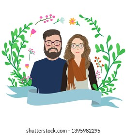 Funny couple with glasses. Cartoon characters portrait with floral wreath frame.