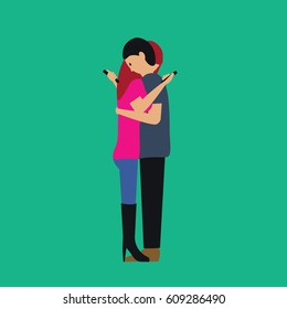 funny Couple hugging, touching & looking in the cell phone mobile vector flat design. humanity addicted to smart phone illustration. negative and so sad. man, male & female ,woman obsessed to gadget