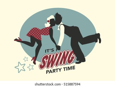 Funny couple silhouette dressed in retro style dancing swing or lindy hop