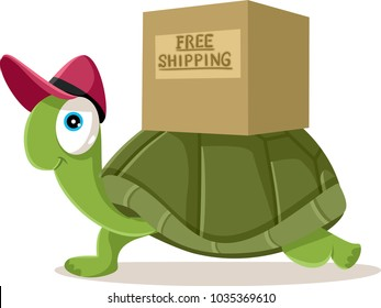 Funny Courier Turtle Free Shipping Concept Vector Cartoon. Cute tortoise character mascot symbol of international mailing delivery
